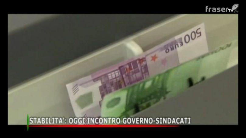 STABILITA', oggi incontro GOVERNO SINDACATI